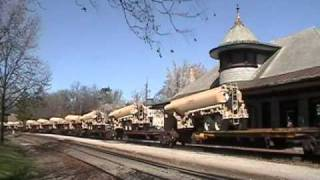 4/2/2011 UP 8032 Leads Military Tank Trailers Eastbound On 1