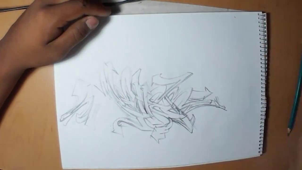 trazando boceto graffiti a lápiz youtube
