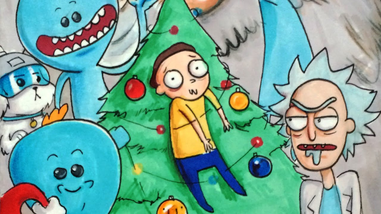 Rick and Morty Christmas   Marker drawing - YouTube