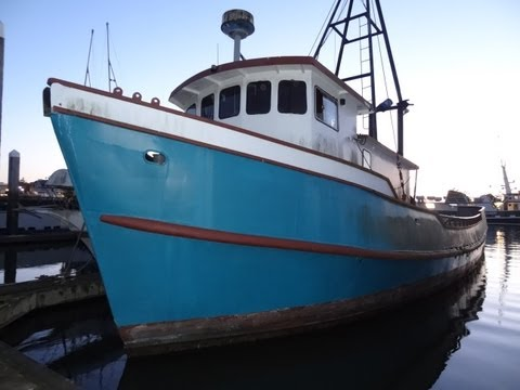 Commercial Fishing Boat Review Ship Vessel Video For Sale 68' HouseBoat Cabin Cruiser Cat Diesel