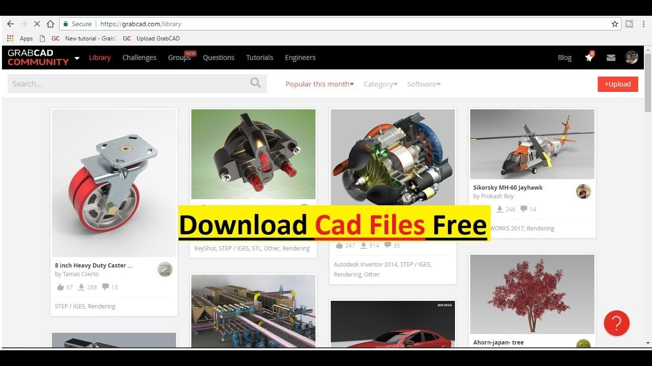 Download Free 3d Cad Files From Grabcad Youtube