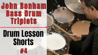 Bonham Bass Drum Triplets - Clip #4 - Drum Lessons with JohnX(Learn how to play triplet ghost notes in the 4th clip from my