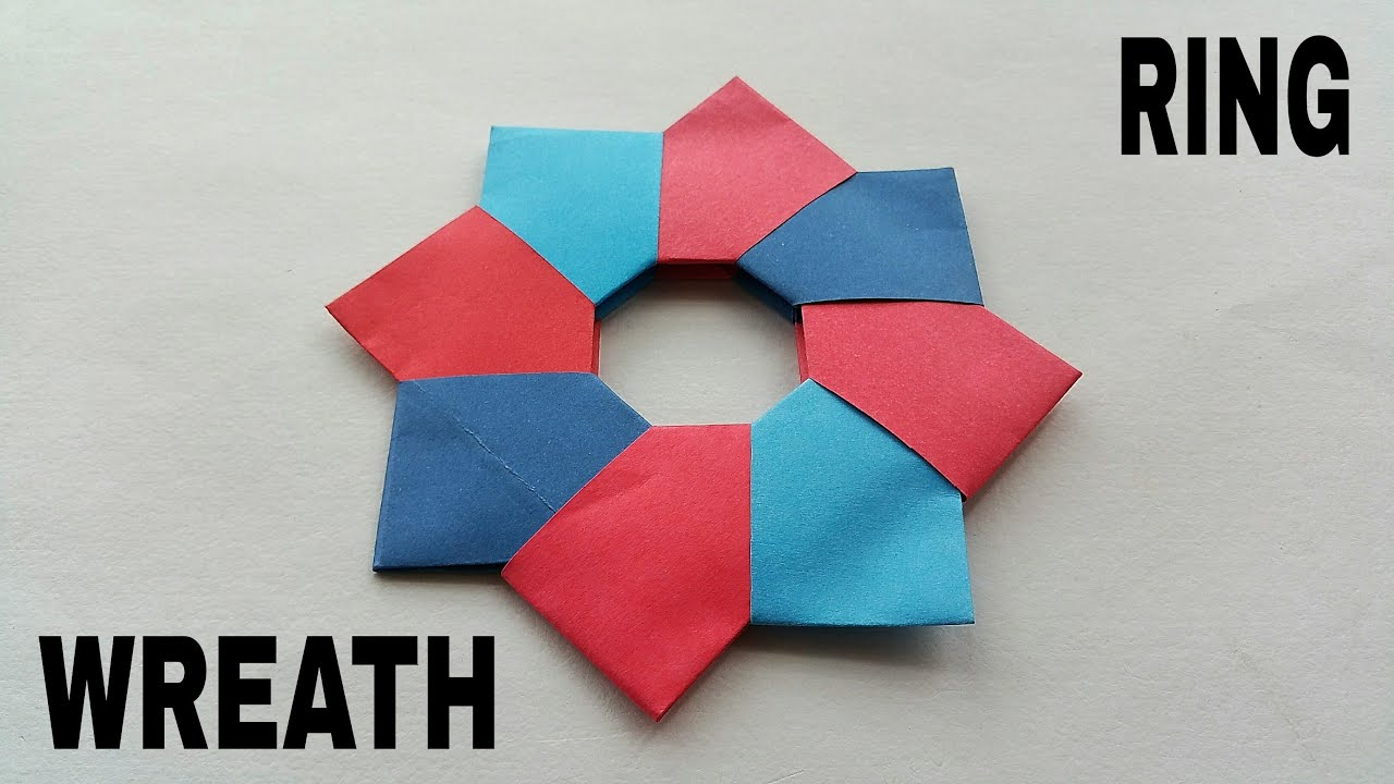 Christmas origami wreath - Modular Origami Paper Christmas Wreath Ring 8 Pointed Very Simple And Easy To Make Youtube
