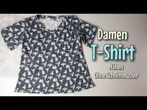 Damen T-Shirt - Nähanleitung OHNE Schnittmuster - Für Anfänger - Nähtinchen