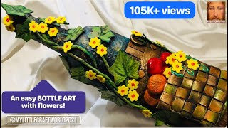 Bottle art with fruit basket and plant decoration/ bottle decoration idea