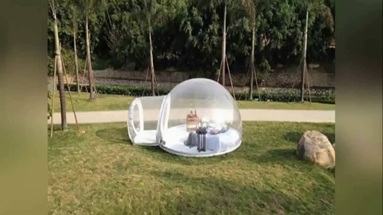 Inflatable Bubble Transparent Clear C&ing Tent 122019 & Inflatable Bubble Transparent Clear Camping Tent 122019 - YouTube