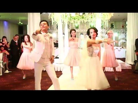 Đặng Thu Thảo Tú Vi Văn Anh nhảy flashmob trong đám cưới