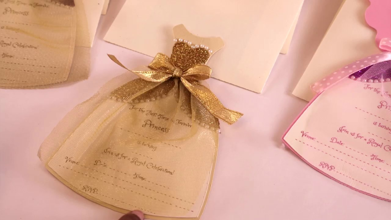 Princess Gown Birthday Invitations By Crack of dawn Crafts - YouTube