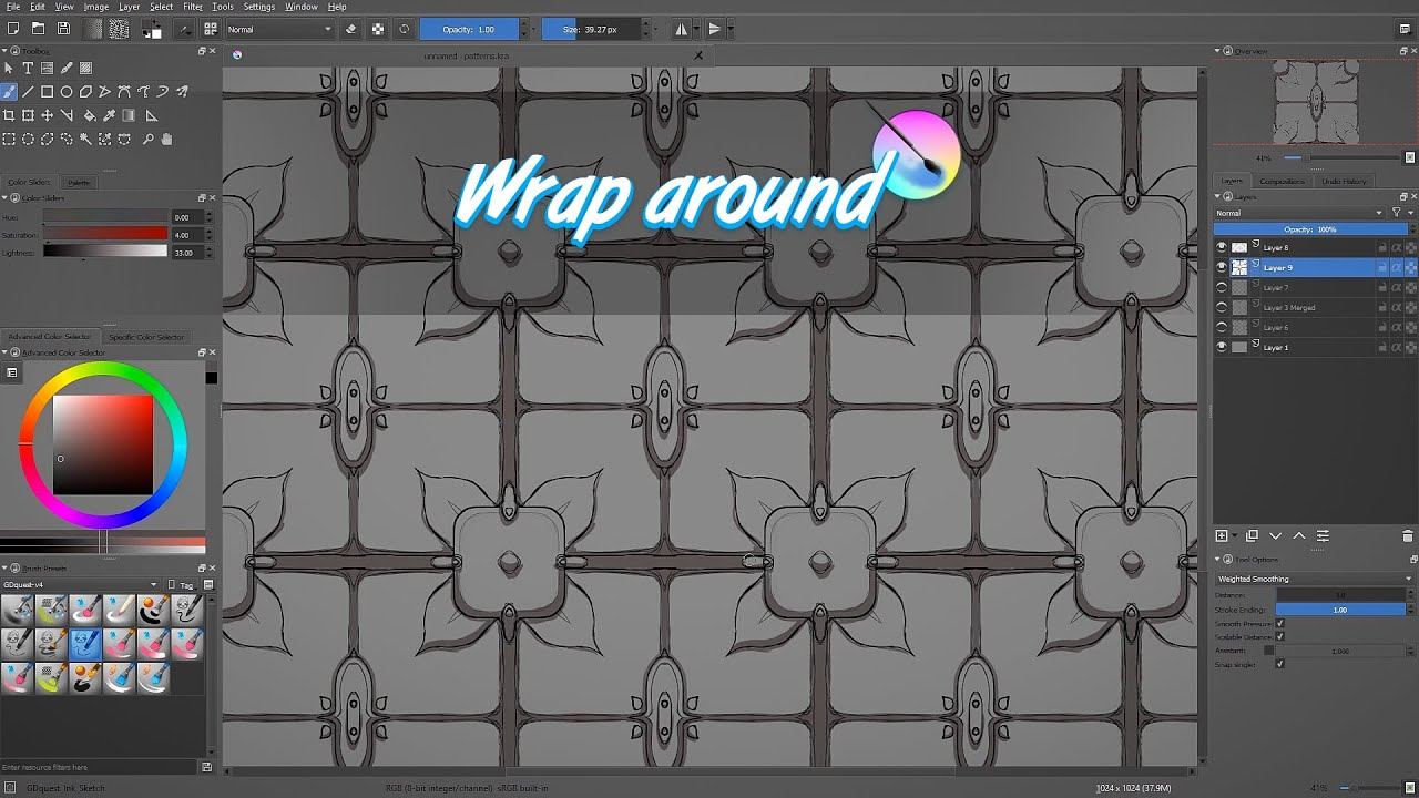 Krita Drawing Line Art : Krita tutorial draw tiling patterns with the wrap around