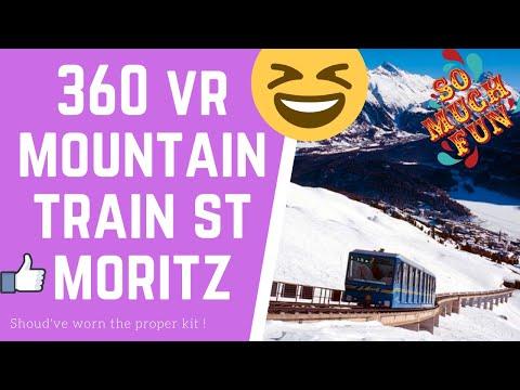 VR 360 inside Snow train in st Moritz Corviglia up mountain