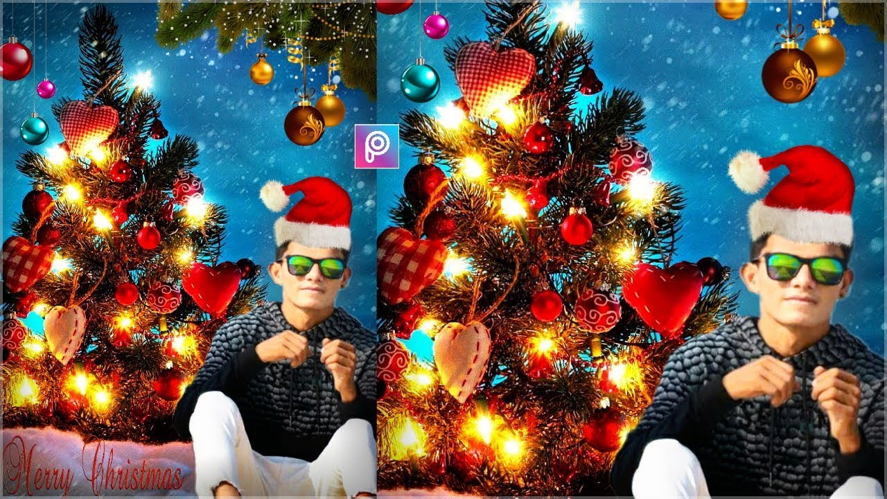 merry christmas day special photo editing christmas 2017 picsart manipulation by rv editz