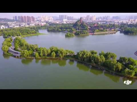 Sunset of Jinshan lake in Zhenjiang City,Jiangsu province,China