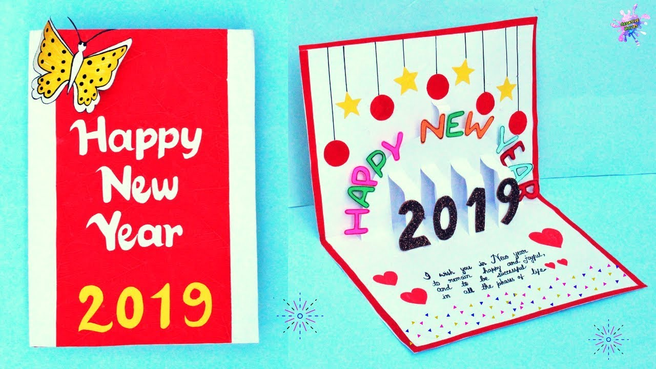 DIY New Year Pop Up Greeting Card /How to make 3D Greeting ...