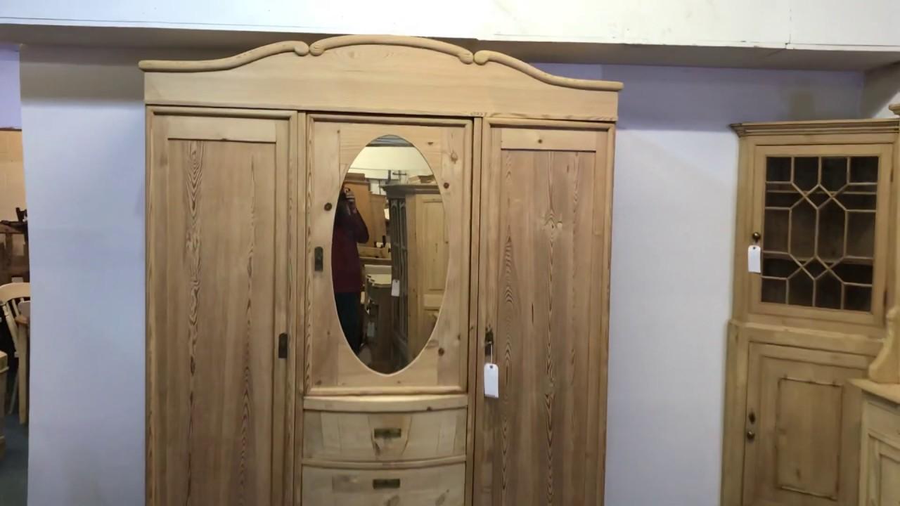 Triple Door Old Pine Mirrored Wardrobe (dismantles) – Pinefinders Old Pine Furniture Warehouse