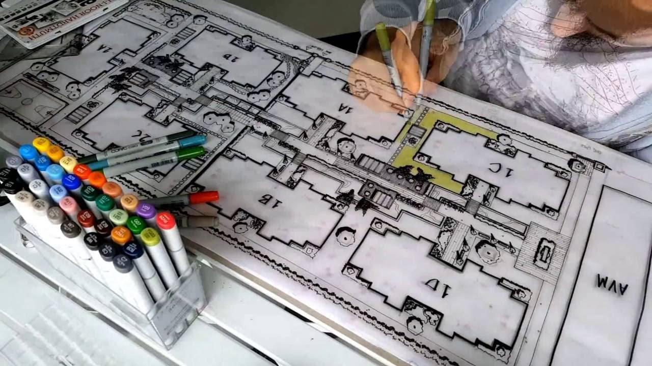 Landscape design designing and coloring project time for Landscape and garden design sketchbooks