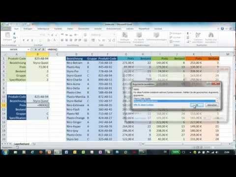Excel - INDEX und VERGLEICH - zwei Varianten