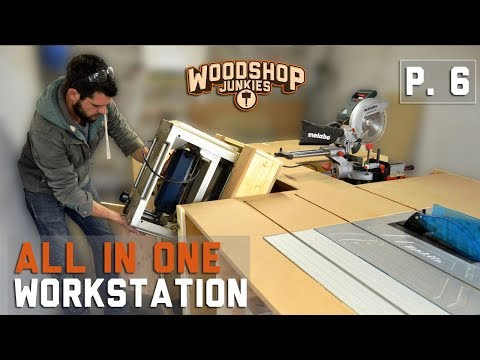 Rotate-To-Store Flip Top Thickness Planer Installed To All-In-One Woodworking Bench - P6