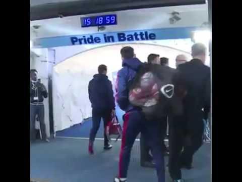Ryan Giggs bumps Brian Kidd in the Etihad Tunnel