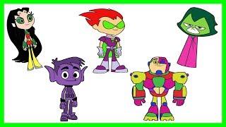 Teen Titans Go! Color Swap Raven, Robin, Cyborg, Beast Boy, Starfire