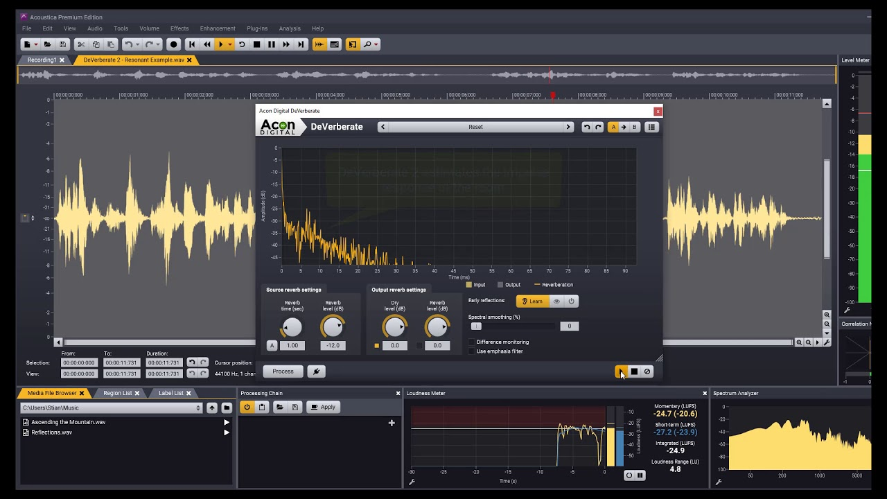 DeVerberate, VST & AU plug-in for reverb reduction (de-reverberation)
