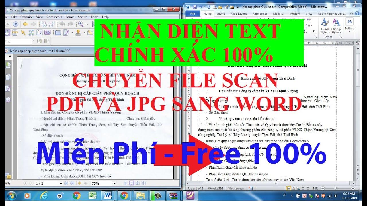 Hướng dẫn chuyển file Scan PDF và JPG sang word – Nhận diện text chính xác 100%