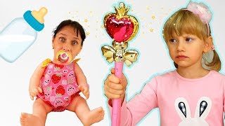 Alena and Pasha and funny stories  with a magic wand
