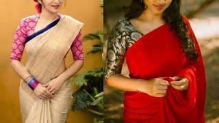 plain Saree with printed blouse designs/Plain chiffon sarees with brocade fabric blouse designs