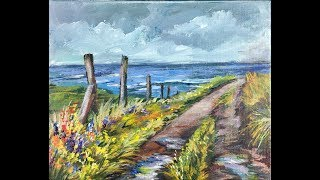 Avoid Color Mixing Mistakes Painting Wildflowers on a Country Lane in Acrylic Paints for Beginners