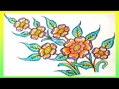 Flower Design With Colour Pencil Drawing Youtube Colour Drawing