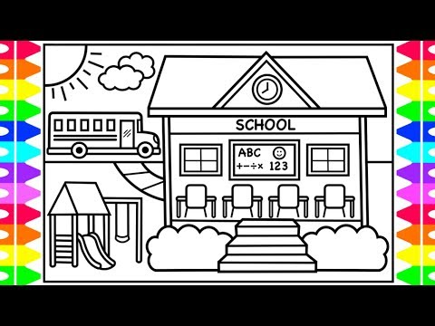 How To Draw A School For Kids Back To School Drawing For Kids School Coloring Pages Youtube