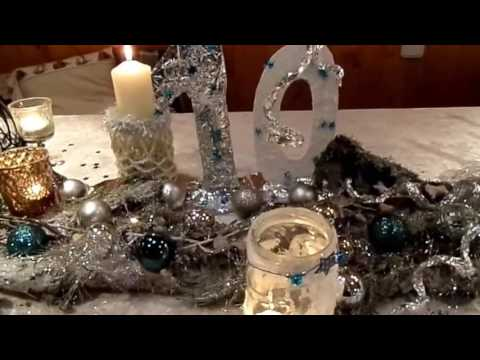 diy festliche tisch deko im winter look glitzer meer silvester party selbst gestalten. Black Bedroom Furniture Sets. Home Design Ideas