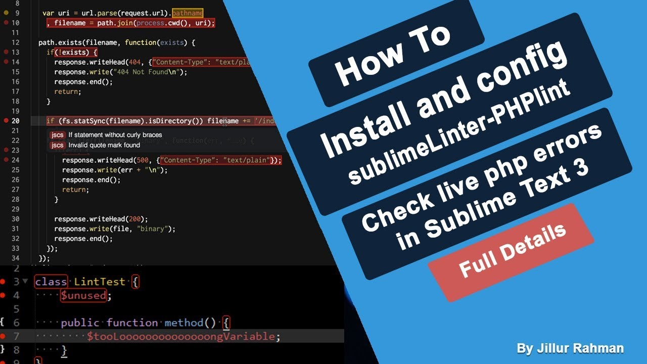 Install & Config Sublime PHP linter | Check PHP Error Reporting Live