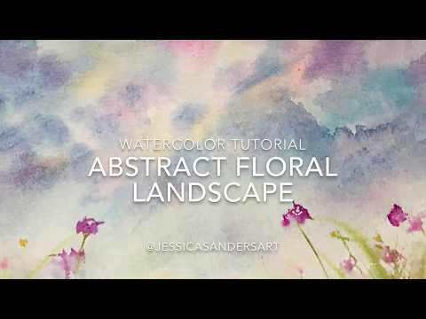 Easy Watercolor – Abstract Floral Landscape 1