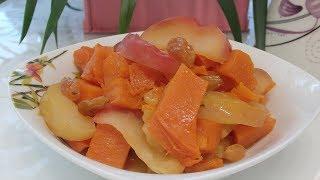 Тыква запеченная с яблоками и изюмом. Простой рецепт из тыквы.