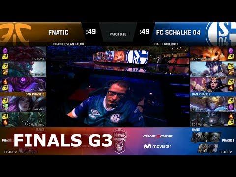 Fnatic vs FC Schalke 04 - Game 3 | Grand Finals S8 EU LCS Summer 2018 | FNC vs S04 G3
