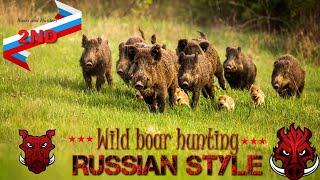 Wild boar hunting Russian style 2 - Best sniper shots on wild boar driven hunt