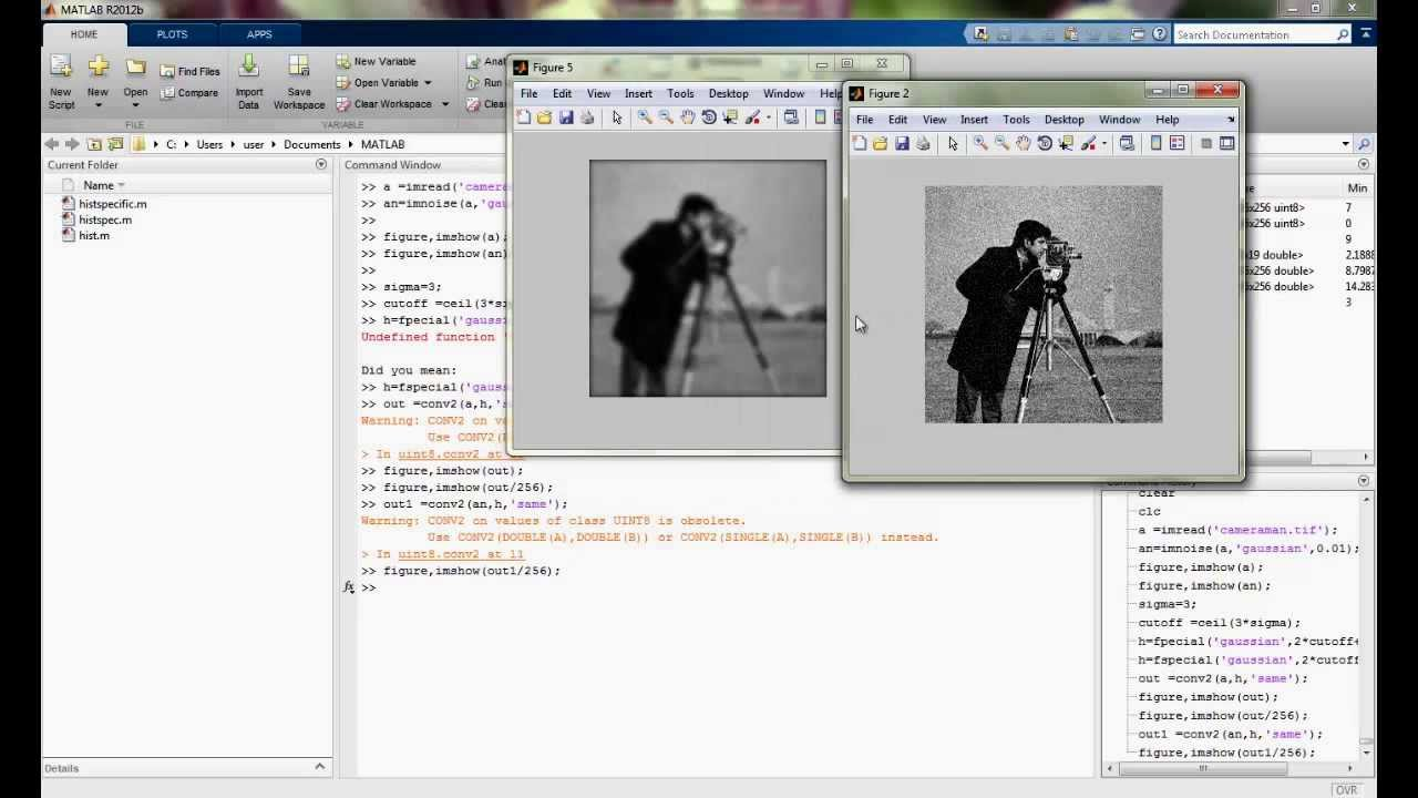 Gaussian noise and Gaussian filter implementation using Matlab