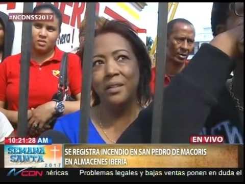 Se registra incendio en San Pedro de Macorís en Almacenes Iberia