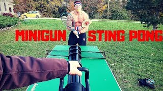 Airsoft Minigun STING PONG Competition | Bodybuilder VS Painful Airsoft Guns Fail