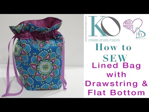 How To Sew Lined Drawstring Bag With Flat Bottom Youtube