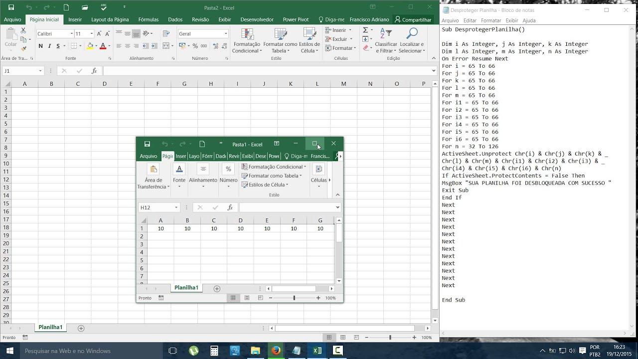 9 0 Excel Como Desbloquear Uma Planilha Com Senha Youtube