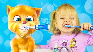 Varvara plays with talking cat Tom Game Ginger