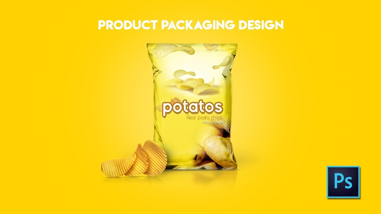 Product packaging design (chips) in Photoshop cc tutorial