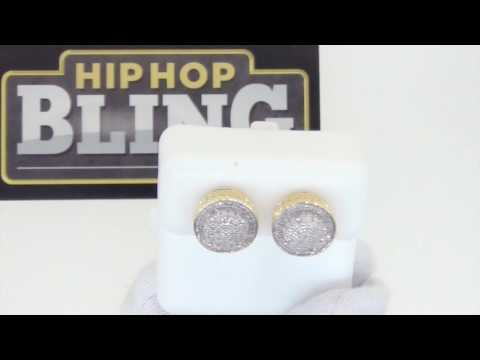 3D Domed Large Diamond Hip Hop Earrings | Gold .925 Silver
