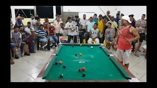 Baianinho de Mauá X Fabióla, final do torneio de sinuca de São Miguel do Araguaia 2019