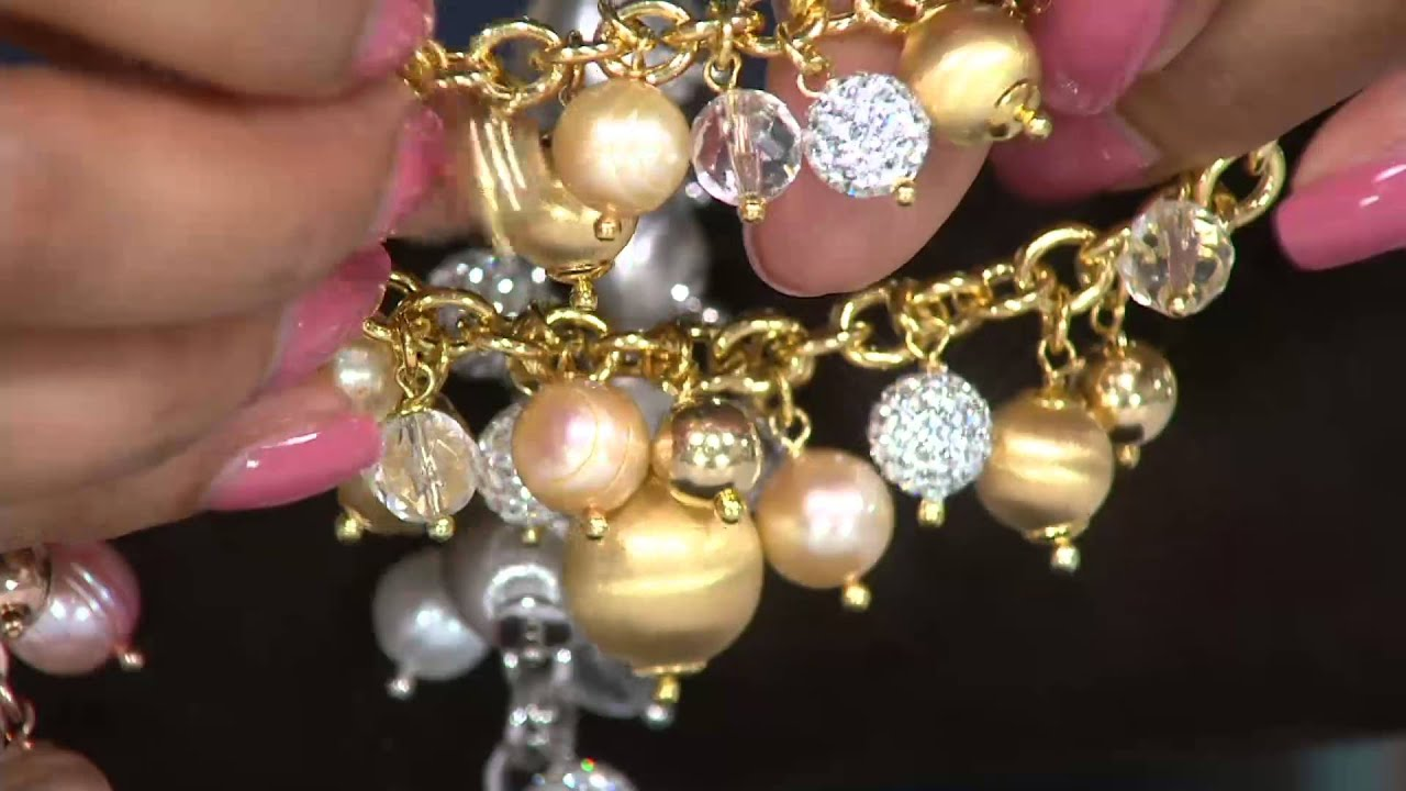 Vicenza Silver Sterling Cultured Pearl Crystal Charm Bracelet On Qvc