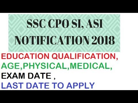 SSC CPO 2018 NOTIFICATION EXPLAINED
