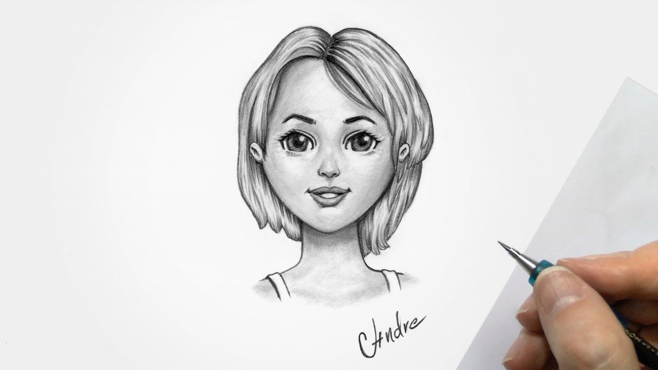 How to Draw a Beautiful Girl Cartoon , Pencil Sketch for Beginners