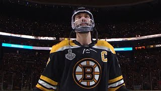 After suffering a facial injury in game 4 and being game-time decision, boston bruins captain zdeno chara receives rousing ovation from the home crowd as...