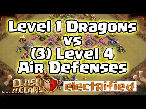 Clash of Clans - Attack Strategy Level 1 Dragons VS (3) Level 4 Air Defenses